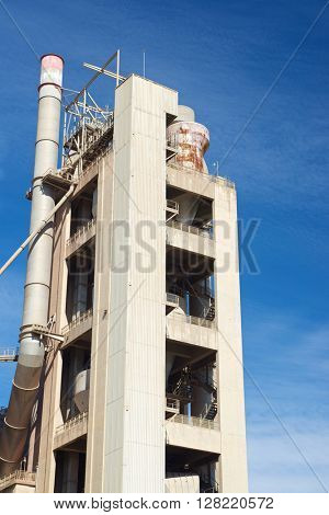 Exterior view of a cement factory, Morata de Jalon, Zaragoza province, Aragon, Spain.