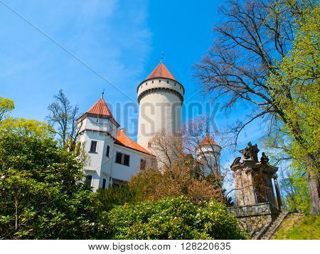 Chateau Konopiste with typical rounded tower, Benesov, Czech Republic