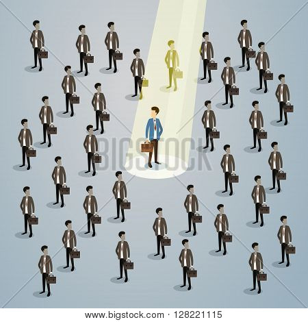 Businessman Spotlight Human Resource Recruitment Candidate, Business People Hire Concept 3d Isometric Vector Illustration