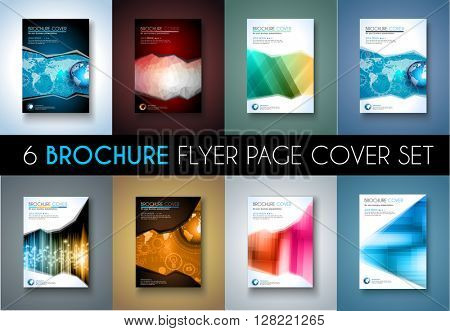 Set of 8 Brochures templates, Flyer Designs or Depliant Covers for business presentation and magazine covers, annual reports and marketing generic purposes.
