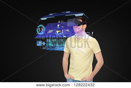 technology, virtual reality, navigation, entertainment and people concept - happy young man in virtual reality headset or 3d glasses with gps navigator map over black background