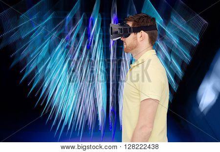 3d technology, virtual reality, entertainment and people concept - young man with virtual reality headset or 3d glasses over spiral neon lights background