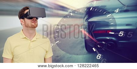 3d technology, virtual reality, entertainment and people concept - young man with virtual reality headset or 3d glasses playing car racing game over tachometer and street race background