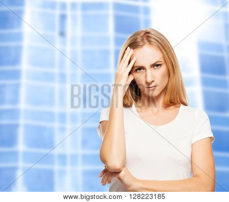 Sad woman on the background of office building. Fired unemployed person