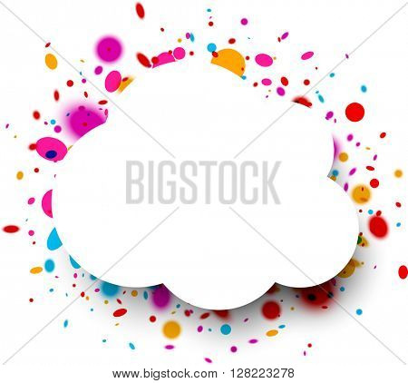 White paper cloud frame with color drops. Vector illustration.