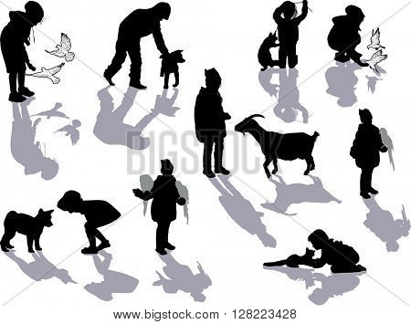 illustration with set of playing girls and animals isolated on white background