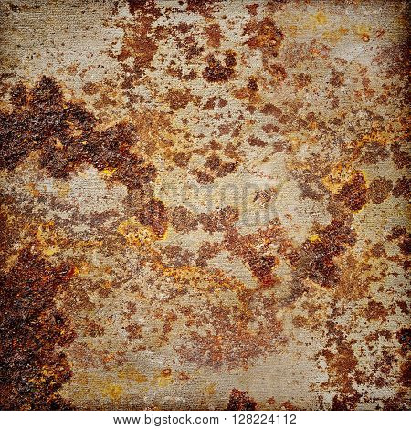old metal plate with rust spots