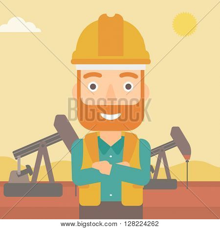 Cnfident oil worker.