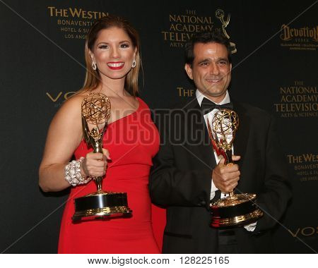 LOS ANGELES - MAY 1:  Gabriela Natale, Andre Suarez at the 43rd Daytime Emmy Awards at the Westin Bonaventure Hotel  on May 1, 2016 in Los Angeles, CA