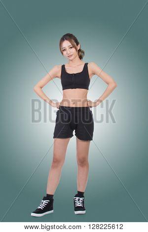 Cheerful sport girl of Asian, full length portrait on white background.