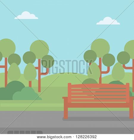 Background of park with bench.