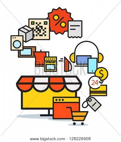Modern web commerce scheme. Flat design shopping concept