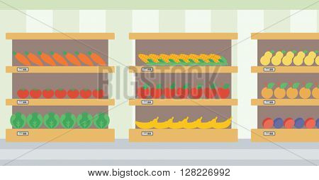 Background of vegetables and fruits on shelves.