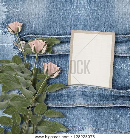 Old Denim Background With Paper Frame