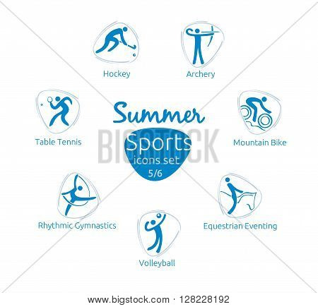 Summer sports icons set 5 of 6 vector illustration template for web print and other projects