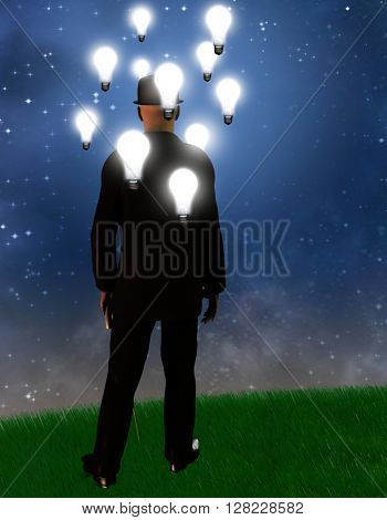 Surreal landscape with man and idea bulbs 3D Render