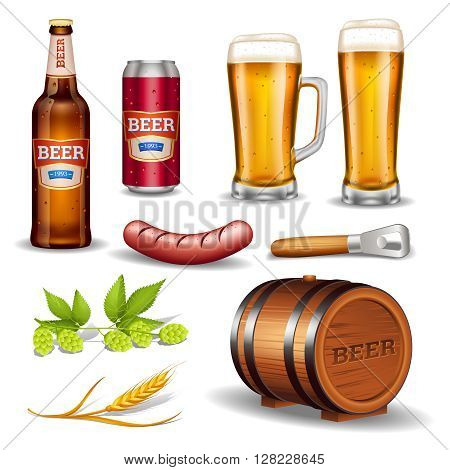 Beer realistic icons collection with bottle glass mug keg sausage and hop cones isolated vector illustration