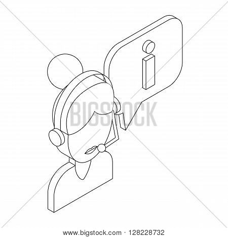 Female consultant and speech bubble with I letter icon in isometric 3d style on a white background
