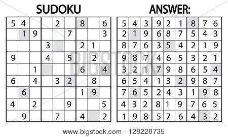 Vector sudoku puzzle game with numbers. Can be used as educational game for kids or leisure game for adults