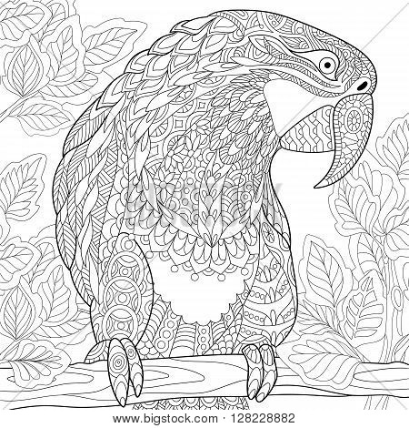 Zentangle stylized cartoon parrot - macaw sitting on a tree branch among leaves. Hand drawn sketch for adult antistress coloring page T-shirt emblem logo or tattoo with floral design elements.