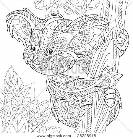 Zentangle stylized cartoon koala bear sitting among tree leaves. Hand drawn sketch for adult antistress coloring page T-shirt emblem logo or tattoo with doodle zentangle floral design elements.