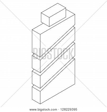 Rechargable battery icon in isometric 3d style on a white background
