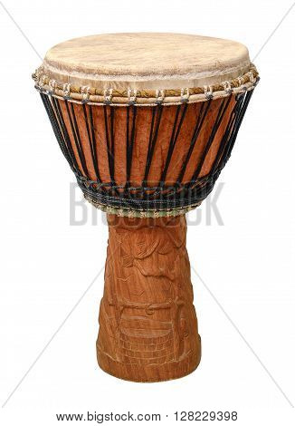 traditional wooden african djembe drum in white back