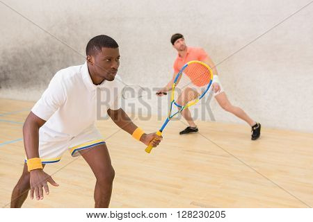 Closeup portrait of squash player man holding racket and waiting for hit from his partner on court. Squash sports concept.