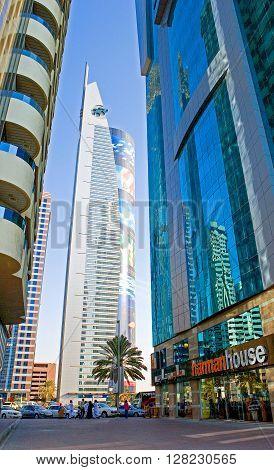 Dubai U.A.E. - November 15 2006: The beautifull architectures of the business area of the Sheik Zaied Road.