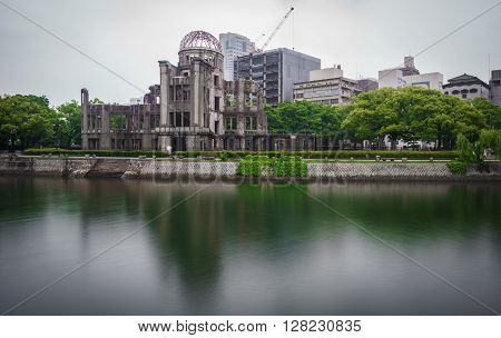 Dark view on the atomic bomb dome in Hiroshima Japan