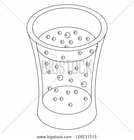 Glass of carbonated drink icon in isometric 3d style on a white background