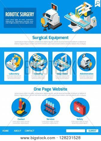 Robotic surgery conventional techniques advantages and equipment information  one page website design facts abstract isometric vector illustration