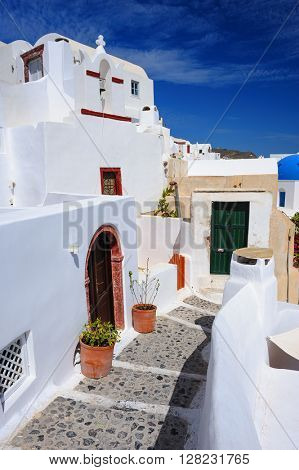 Oia streets and doors