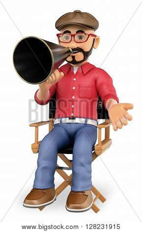 3d show business people. Film director sitting in his chair with a megaphone. Isolated white background.