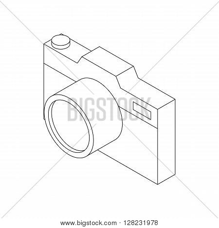 Photo camera icon in isometric 3d style on a white background