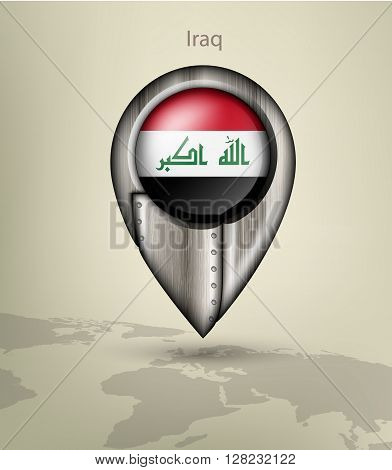 metal map marker steel with glare and shadows iraq