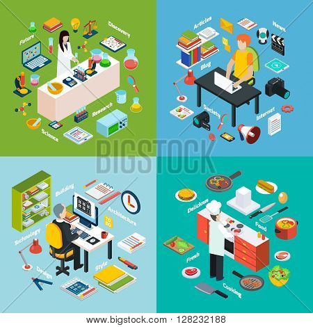 Isometric 2x2 compositions presenting different professions workplaces scientist reporter engineer and cook with their equipments vector illustration