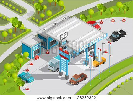 Isometric poster of gas station composition with gas and fuel refill service shop and cars vector illustration