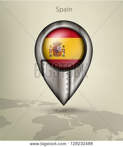 metal map marker steel with glare and shadows spain