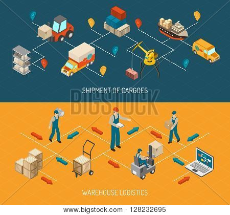 Logistics 2 horizontal isometric with cargo delivery chain and warehouse storage flowchart design abstract isolated vector illustration
