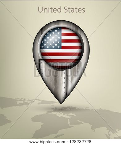 metal map marker steel with glare and shadows united states