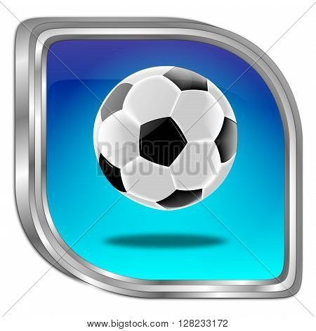 blue Button with Soccer ball - 3D illustration