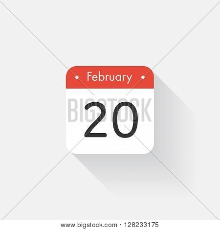 Calendar Icon with long shadow. Flat style. Date, day and month. Reminder. Vector illustration. Organizer application, app symbol. Ui. User interface sign. February.20