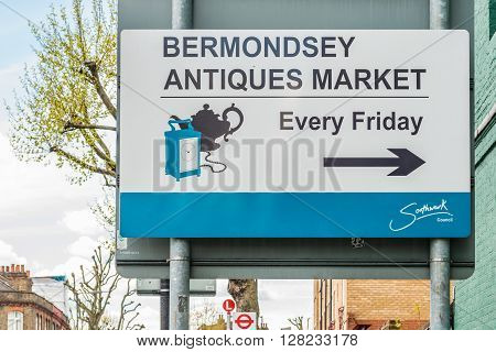 London United Kingdom - April 30 2016: Bermondsey Antiques Market sign. Market is on every Friday