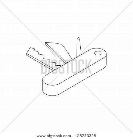 Pocket knife icon in isometric 3d style on a white background