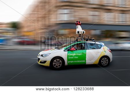 GLASGOW SCOTLAND - JULY 17: A Google Street View surveys the city street on July 17 2014 in Glasgow.