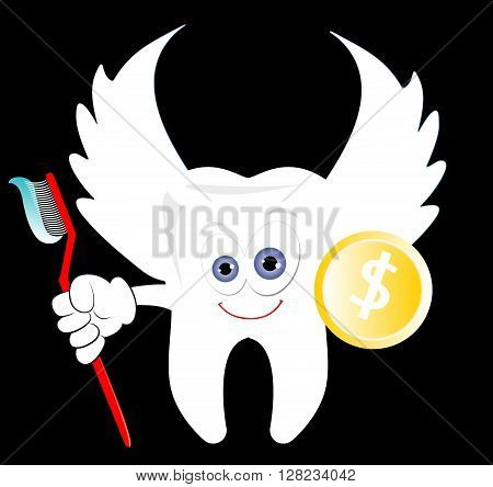 Funny cartoon Tooth Fairy with a golden dollar coin and a toothbrush