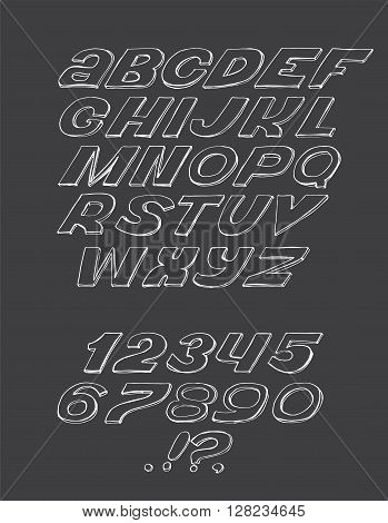 Hand-drawn ABC letters isolated on black background. Hand drawn ink 3d font funky and grunge alphabet vector graphic illustration. Scratched stylish inclined letters can be used for creative lettering.