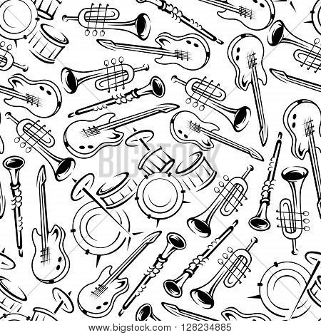 Black and white jazz band or orchestra musical instruments seamless pattern with outlined guitars, drum set, trumpets and clarinets. May be use as concert and festive party background or art and music concept design