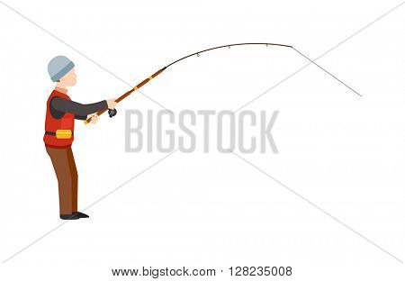 Fisherman silhouette isolated vector